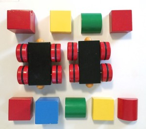 Brio magnetic blocks train set pieces laid out
