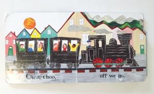 Inside page spread from Choo Choo board book by Petr Horacek
