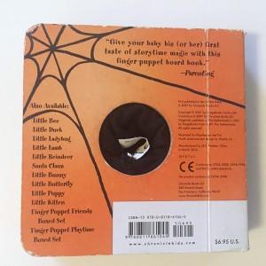 Backside of Little Spider finger puppet board book