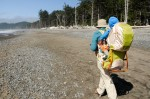 Woman hiking with Kelty Kids FC 3.0 carrier backpack on rocky beach with trees in background