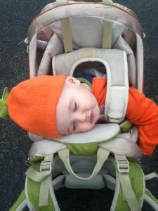 Infant sleeping in Kelty Kids FC 3.0 backpack carrier
