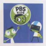 PBS kids logo with child head and thought bubble with PBS Kids written inside and two other kids pointing up at logo on blue background