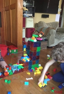 Magnet tile and duplo lego tower creation kids