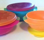 Sassy snack bowls 3 piece set with suction cup base and lids