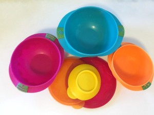 Sassy snack bowls three bowls and lids with suction cup base