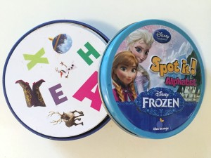 Frozen alphabet edition of Spot It card game