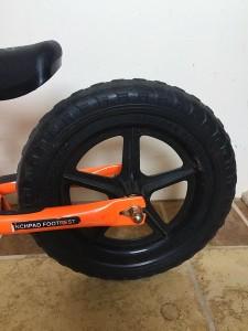 Strider balance bike launchpad footrest close up