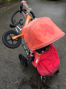 Strider orange balance bike loaded onto Bugaboo Frog stroller