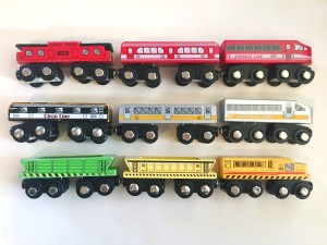 wooden trains purchased at Target by Circo and All Aboard brands