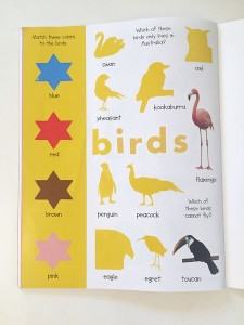 birds yellow page animal sticker book early learning priddy
