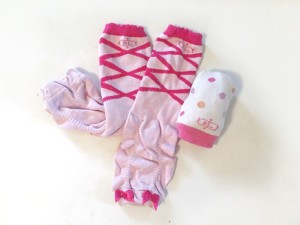 Baby leg infant leg warmers in pink ballerina and polka dot patterns