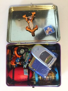 Hulk metal lunch box packed with small toys