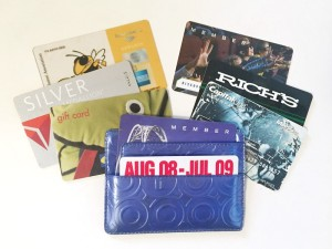 Old membership cards in wallet as airplane entertainment
