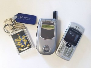 Old cell phones as toys and key ring