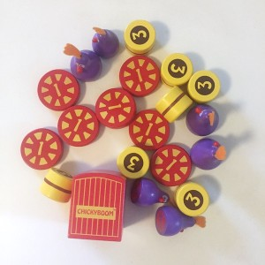 Chicky boom balancing game pieces laid out