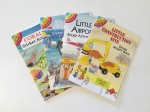 Dover Little Sticker Activity books fanned out in coral reef, aquarium, airport, and construction site themes