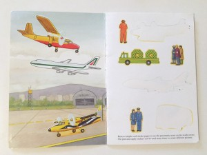 Dover Little Airport Sticker Activity book open to printed scene and sticker page