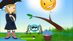 screen shot from itsy bitsy spider interactive book app by duck duck moose showing sun, caterpillar, and girl in puddle with umbrella