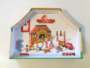 Janod Story Box Circus inside lid with paper showing contents cut out to fit and glued on