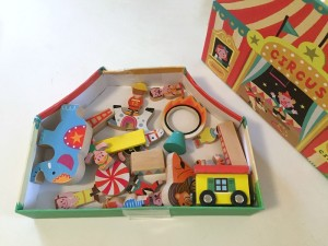 Janod Story Box Circus contents inside box with lid off to right side