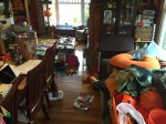 Living and dining room in a huge mess with toys and things scattered on every surface
