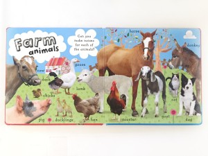 Farm animal page spread from 101 First animals board book