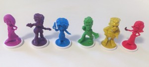 Color themed characters from Clue Junior board game