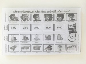 Detective sheets to solve the mystery in Clue Junior