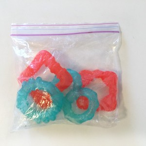Bright Starts four teething rings stored in ziploc bag