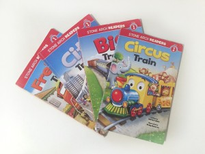 Circus Train, Big Train, City Train, and Freight Train from Stone Arch easy readers level one series