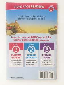 Back cover of Freight Train Stone Arch Reader easy reader for young kids