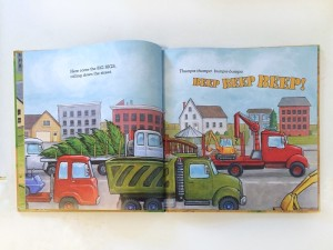 One of the page spreads inside Little Excavator by Anna Dewdney