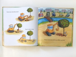 Page from the end of Little Excavator picture book for kids about a small construction vehicle trying to participate
