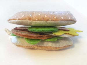 Subway grinder sandwich made from felt pieces of Melissa and Doug sandwich set