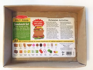 cardboard tray packaging from melissa and doug felt sandwich food play set