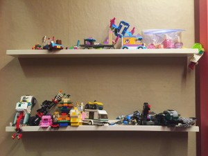 Picture ledge floating shelves in white with Lego creations standing on them