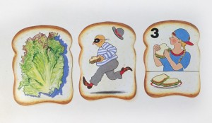 Three types of cards from slamwich game include muncher, thief, and food cards in shape of sandwich bread