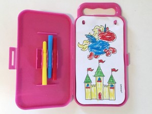 Suns rainbows unicorns amscan coloring activity sticker kit in pink carrying case with small markers