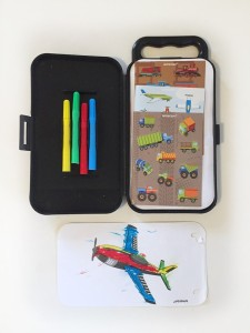 Amscan Trucks Planes and Trains coloring sticker activity kit with markers and pages to color