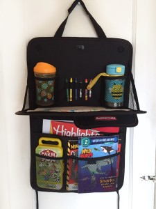 Rubbermaid back seat organizer filled with kid entertainment for road trips