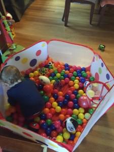 Toddler picking up balls in ball pit