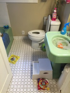 Bathroom with child seat on toilet and toys sink full of soapy water