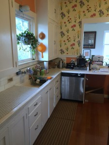 Kitchen with white cabinets and flowered wallpaper hanging plant and tile countertops