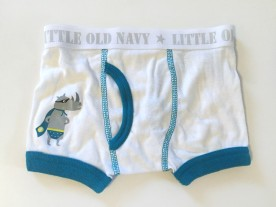 Old Navy boxer brief underwear for toddler boys white with super hero rhino