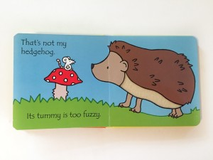 Hedgehog with fuzzy tummy texture sniffing mushroom in Usborne That's Not My Hedgehog book