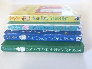 Spine view of four popular Boynton board books