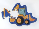 Crocodile Creek ten piece digger puzzle for kids with one piece left to assemble