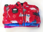 Hatley Fuzzy Fleece jackets in a stack in red blue and pink