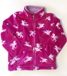 Girls hot pink with flying horses Pegasus fuzzy fleece jacket from Hatley
