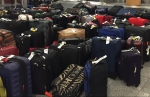 Suitcases stacked in rows at airport arrivals baggage claim
